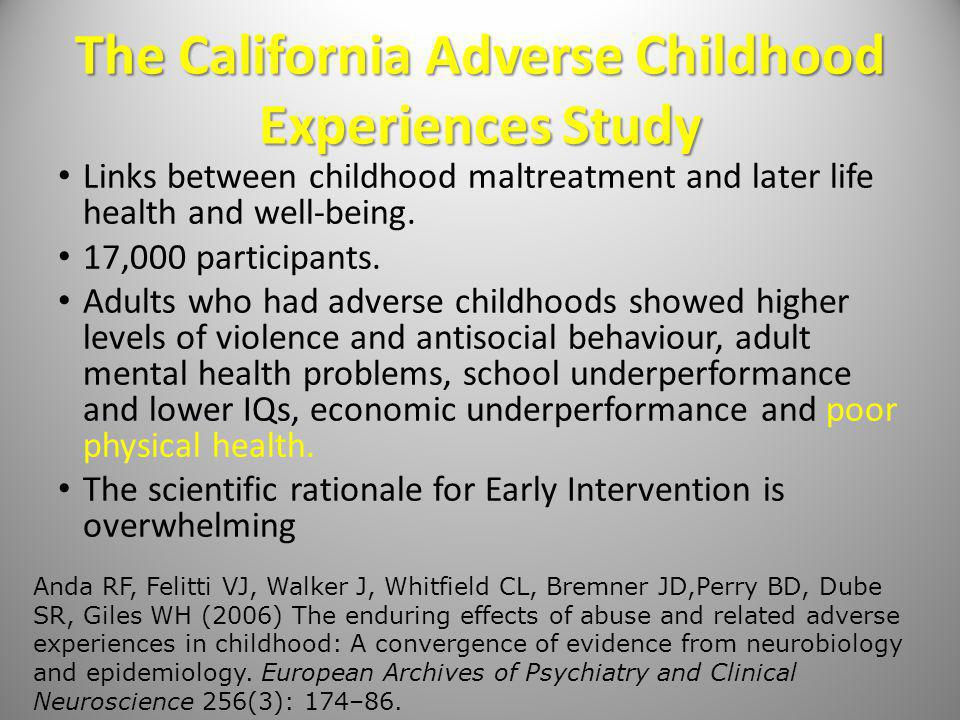 The California Adverse Childhood Experiences Study Links between childhood maltreatment and later life health and well-being.
