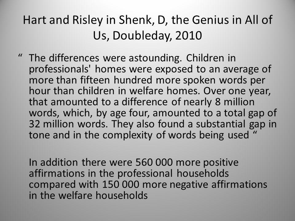 "Hart and Risley in Shenk, D, the Genius in All of Us, Doubleday, 2010 ""The differences were astounding. Children in professionals' homes were exposed"