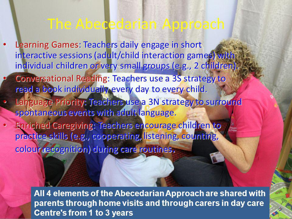 Learning Games: Teachers daily engage in short interactive sessions (adult/child interaction games) with individual children or very small groups (e.g., 2 children).