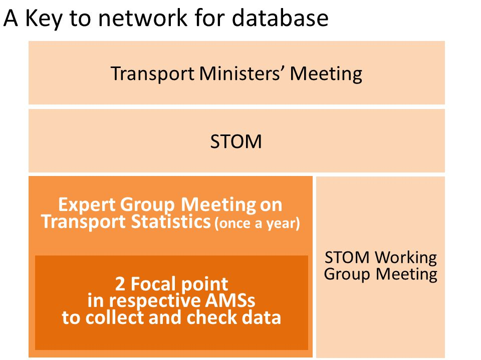A Key to network for database Transport Ministers' Meeting STOM Expert Group Meeting on Transport Statistics (once a year) STOM Working Group Meeting 2 Focal point in respective AMSs to collect and check data