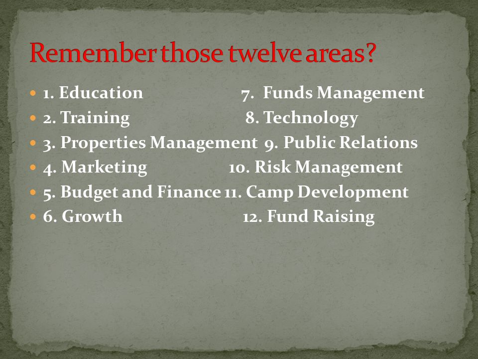 1. Education 7. Funds Management 2. Training 8.