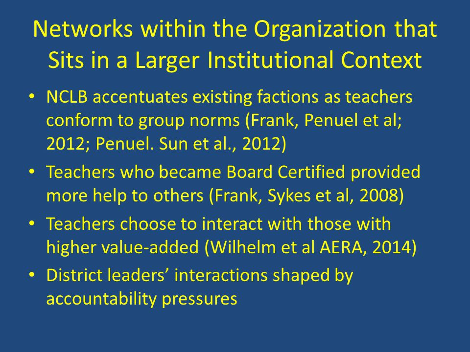 Networks within the Organization that Sits in a Larger Institutional Context NCLB accentuates existing factions as teachers conform to group norms (Fr