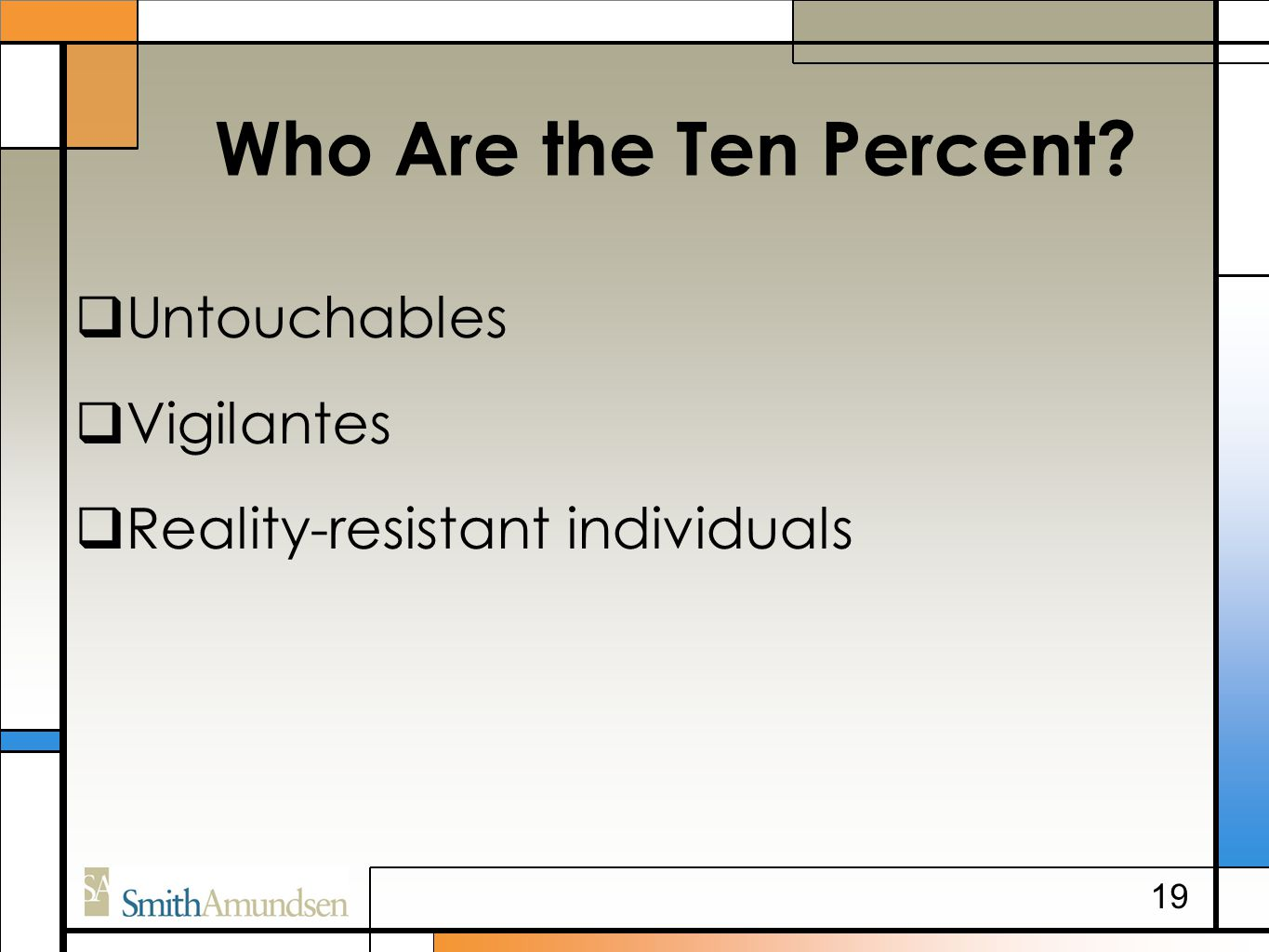 Who Are the Ten Percent  Untouchables  Vigilantes  Reality-resistant individuals 19