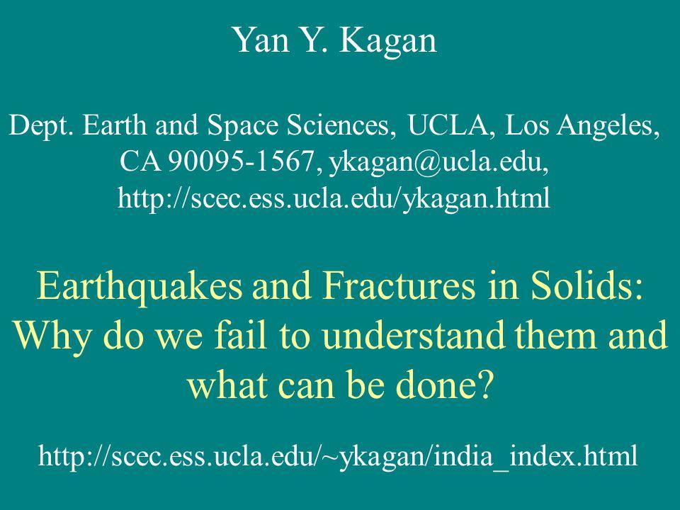 Yan Y. Kagan Dept. Earth and Space Sciences, UCLA, Los Angeles, CA 90095-1567, ykagan@ucla.edu, http://scec.ess.ucla.edu/ykagan.html Earthquakes and F