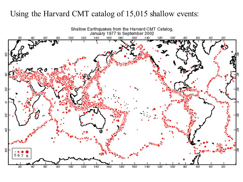 Using the Harvard CMT catalog of 15,015 shallow events:
