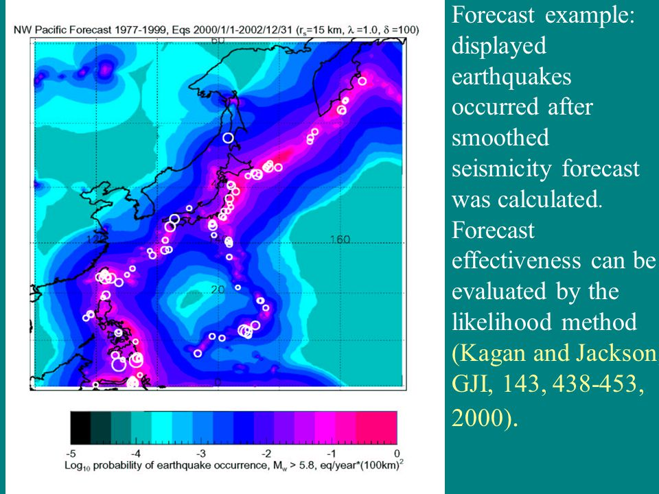 Forecast example: displayed earthquakes occurred after smoothed seismicity forecast was calculated.