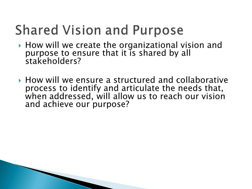  How will we create the organizational vision and purpose to ensure that it is shared by all stakeholders.