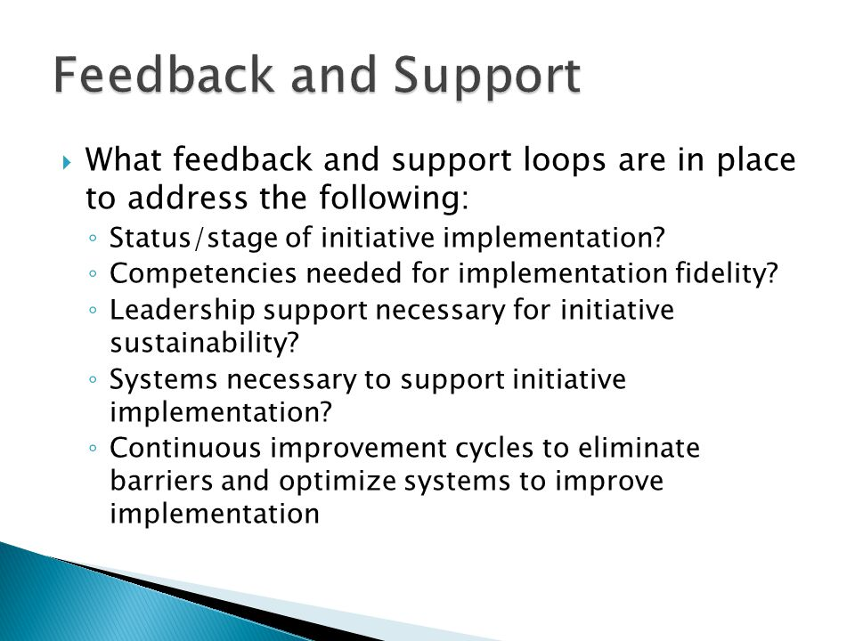  What feedback and support loops are in place to address the following: ◦ Status/stage of initiative implementation.