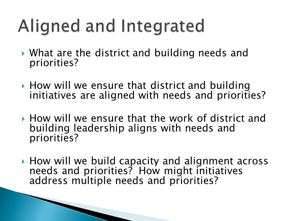  What are the district and building needs and priorities.