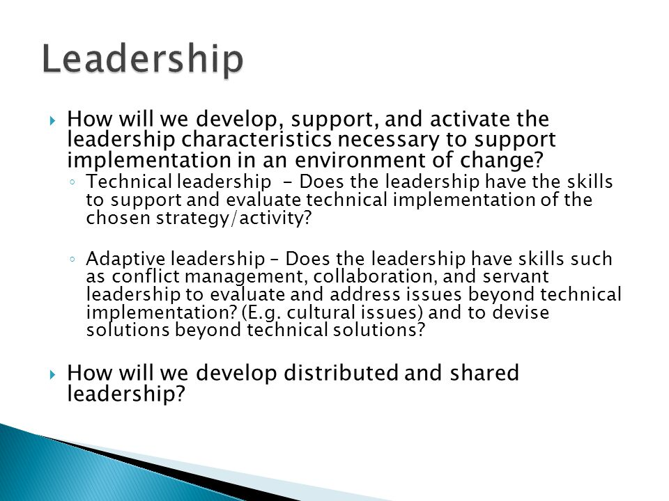  How will we develop, support, and activate the leadership characteristics necessary to support implementation in an environment of change.