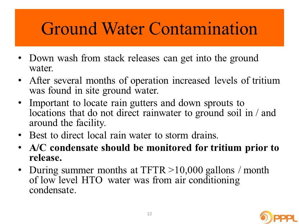 Ground Water Contamination Down wash from stack releases can get into the ground water.
