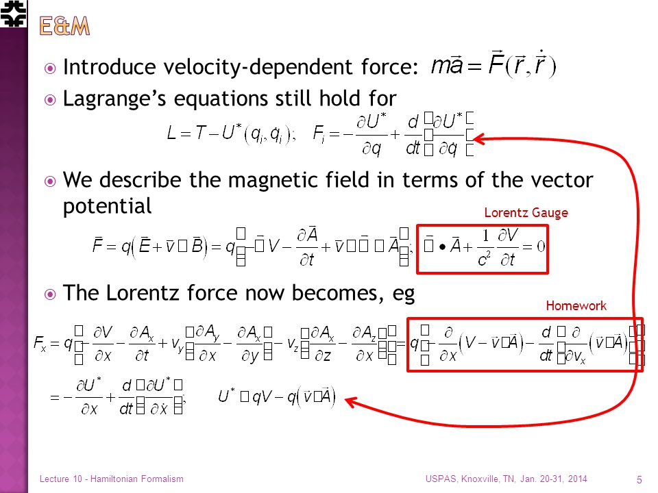  Introduce velocity-dependent force:  Lagrange's equations still hold for  We describe the magnetic field in terms of the vector potential  The Lo