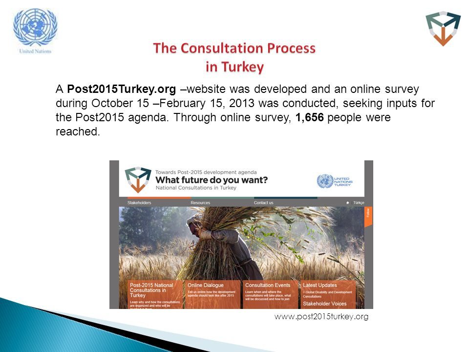 A Post2015Turkey.org –website was developed and an online survey during October 15 –February 15, 2013 was conducted, seeking inputs for the Post2015 agenda.