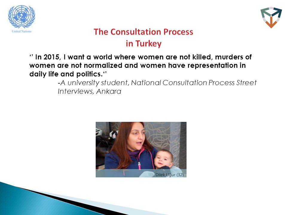 '' In 2015, I want a world where women are not killed, murders of women are not normalized and women have representation in daily life and politics.'' -A university student, National Consultation Process Street Interviews, Ankara