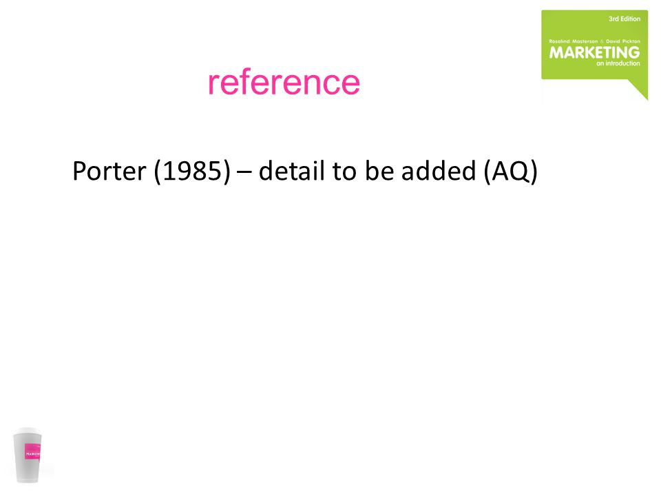 reference Porter (1985) – detail to be added (AQ)