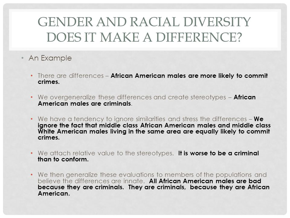 GENDER AND RACIAL DIVERSITY DOES IT MAKE A DIFFERENCE.