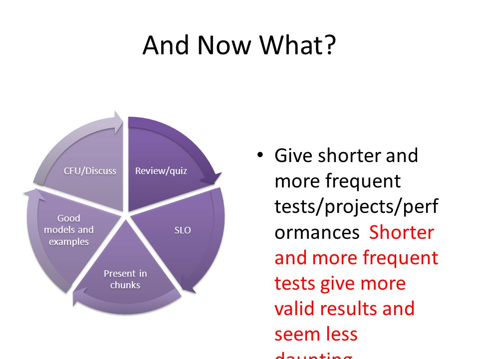 And Now What? Give shorter and more frequent tests/projects/perf ormances Shorter and more frequent tests give more valid results and seem less daunti
