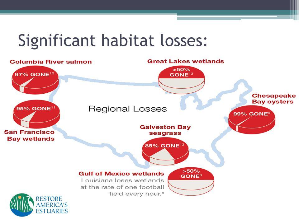Significant habitat losses: