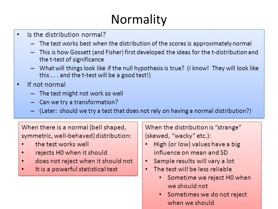 Normality Is the distribution normal.
