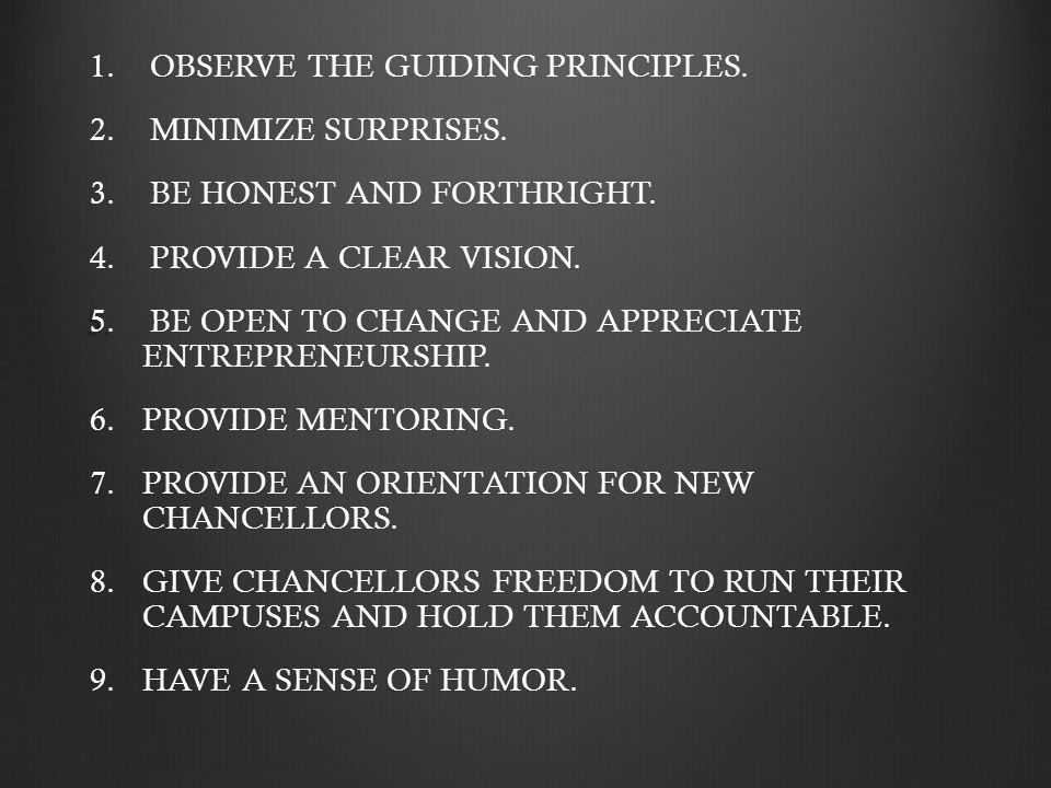 1. 1. OBSERVE THE GUIDING PRINCIPLES. 2. 2. MINIMIZE SURPRISES.