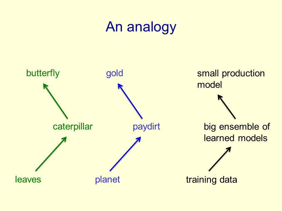 leaves caterpillar butterfly planet paydirt gold training data big ensemble of learned models small production model An analogy