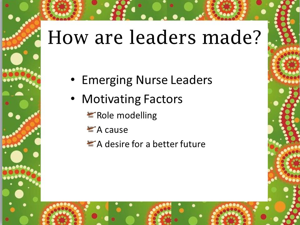 How are leaders made? Emerging Nurse Leaders Motivating Factors Role modelling A cause A desire for a better future