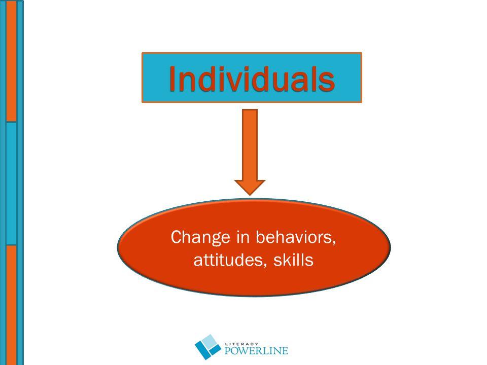 Individuals Change in behaviors, attitudes, skills