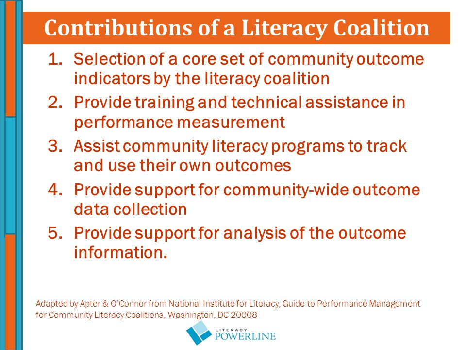 1.Selection of a core set of community outcome indicators by the literacy coalition 2.Provide training and technical assistance in performance measurement 3.Assist community literacy programs to track and use their own outcomes 4.Provide support for community-wide outcome data collection 5.Provide support for analysis of the outcome information.