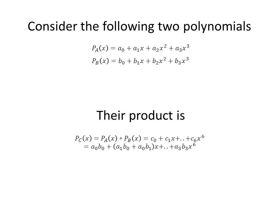Consider the following two polynomials Their product is