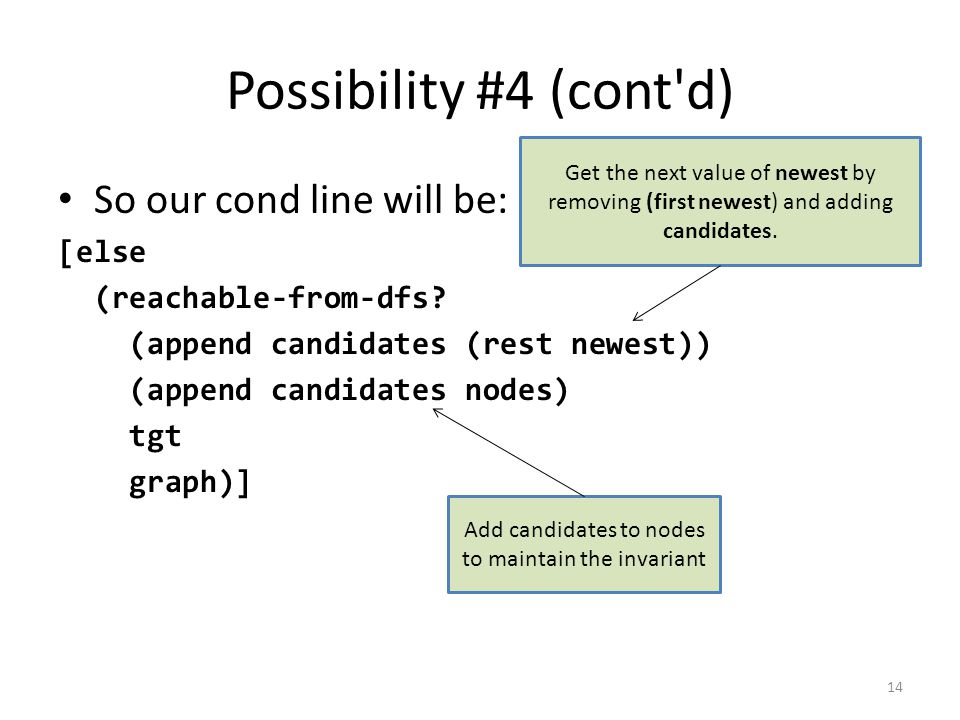 Possibility #4 (cont d) So our cond line will be: [else (reachable-from-dfs.