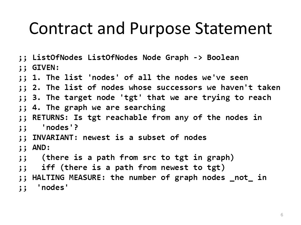 Contract and Purpose Statement ;; ListOfNodes ListOfNodes Node Graph -> Boolean ;; GIVEN: ;; 1.