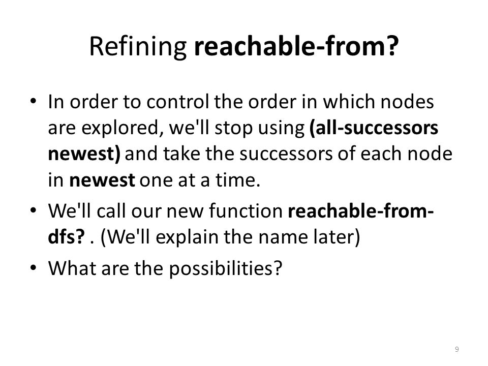 Refining reachable-from.