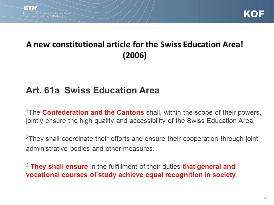 10 Art. 61a Swiss Education Area 1 The Confederation and the Cantons shall, within the scope of their powers, jointly ensure the high quality and acce