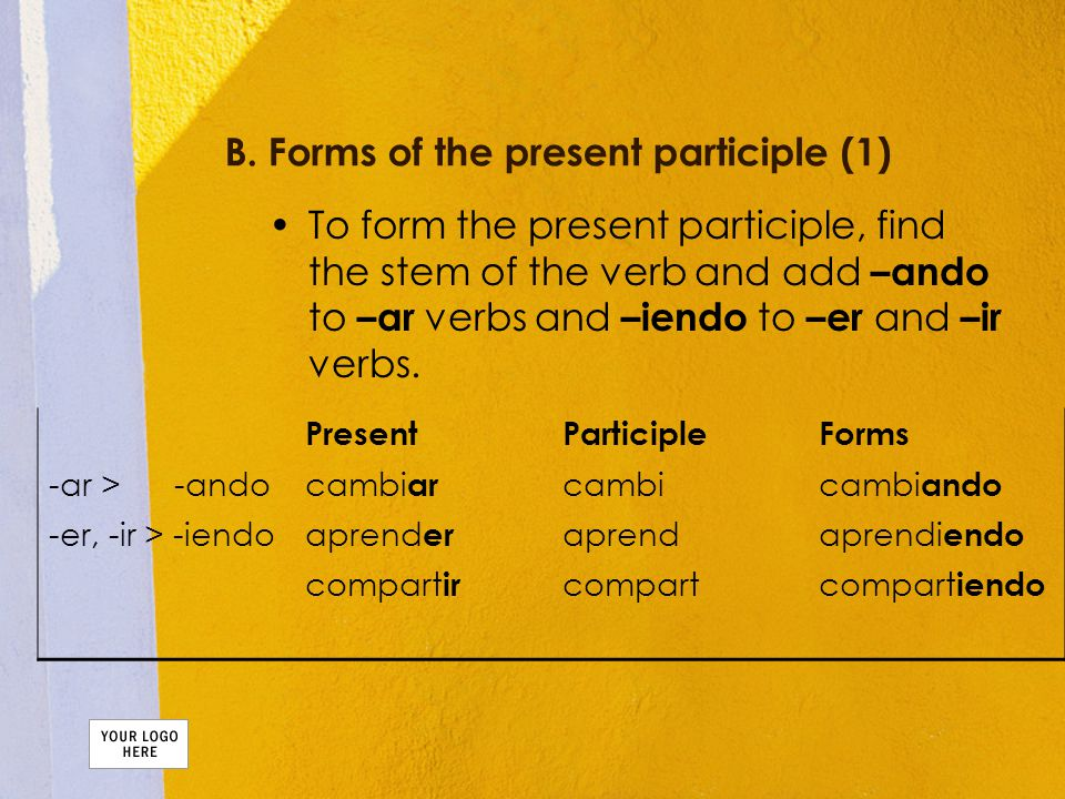 B. Forms of the present participle (1) To form the present participle, find the stem of the verb and add –ando to –ar verbs and –iendo to –er and –ir