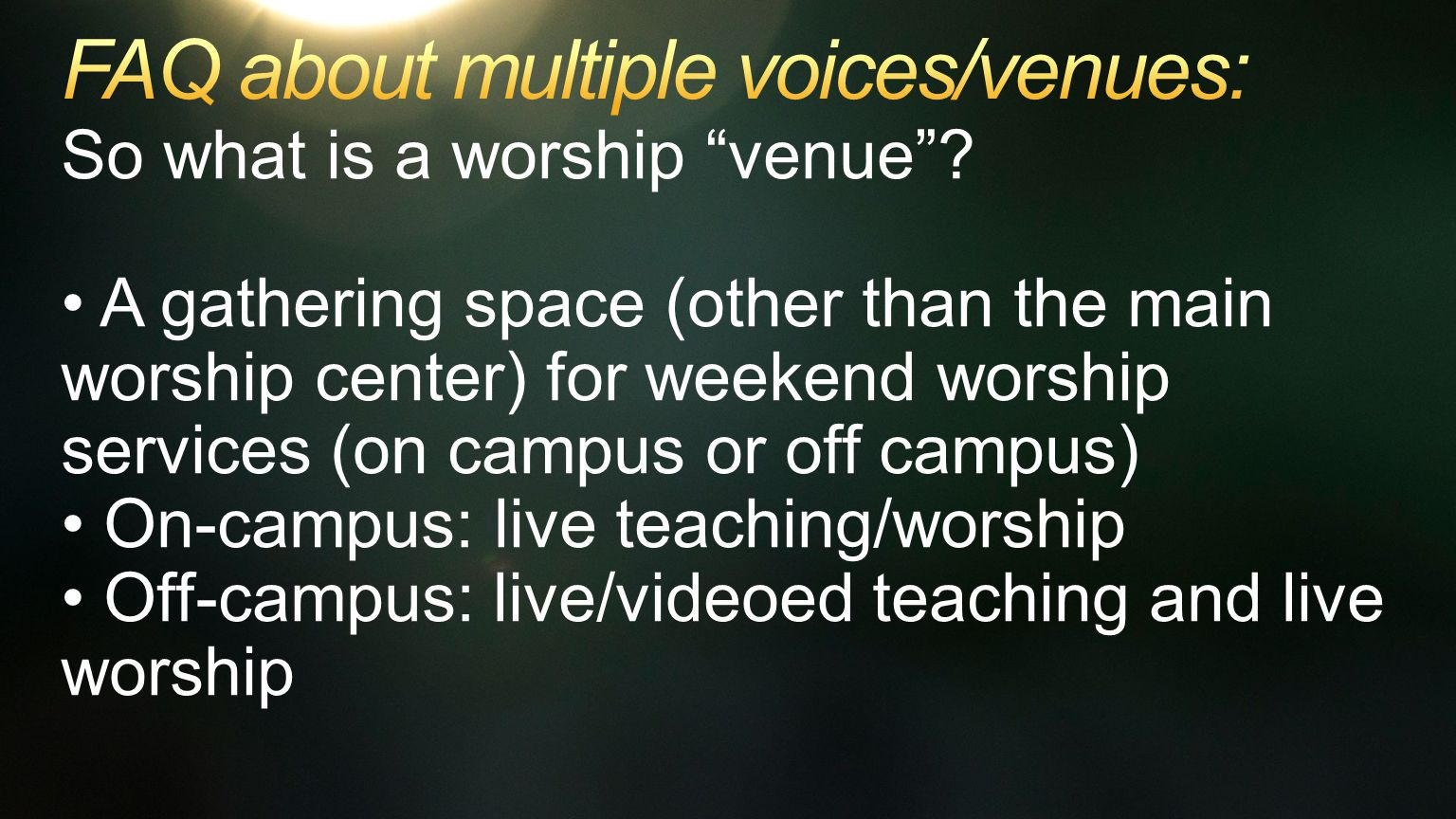 So what is a worship venue .