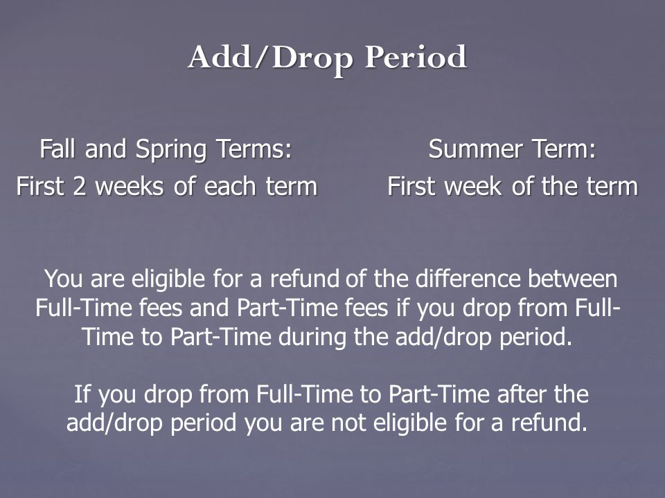 Fall and Spring Terms:Summer Term: Fall and Spring Terms:Summer Term: First 2 weeks of each term First week of the term Add/Drop Period You are eligib