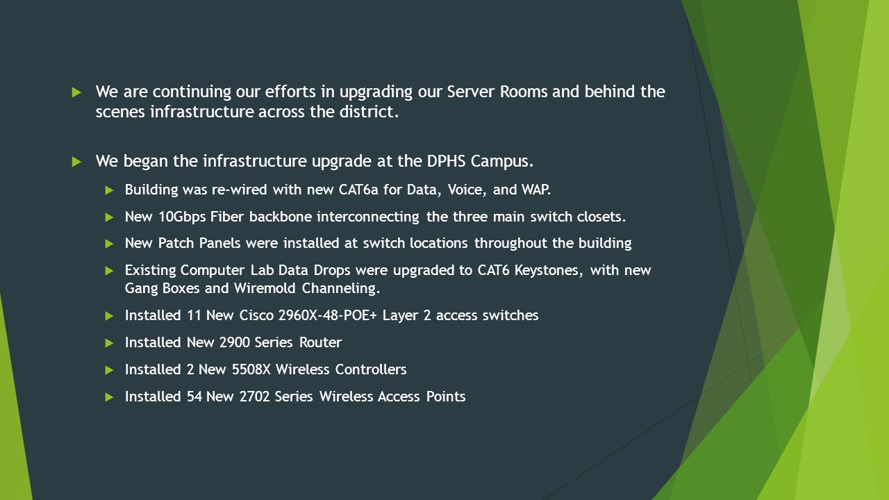  We are continuing our efforts in upgrading our Server Rooms and behind the scenes infrastructure across the district.
