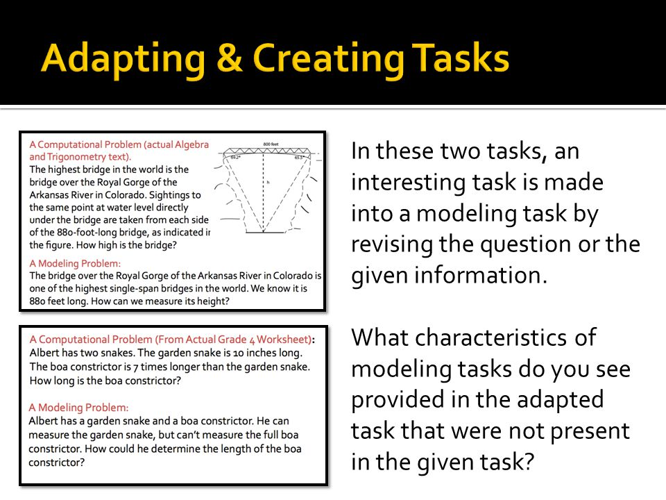 In these two tasks, an interesting task is made into a modeling task by revising the question or the given information.