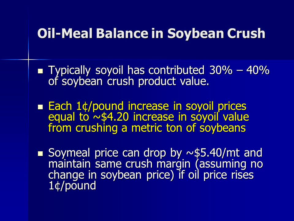 Oil-Meal Balance in Soybean Crush Typically soyoil has contributed 30% – 40% of soybean crush product value. Typically soyoil has contributed 30% – 40