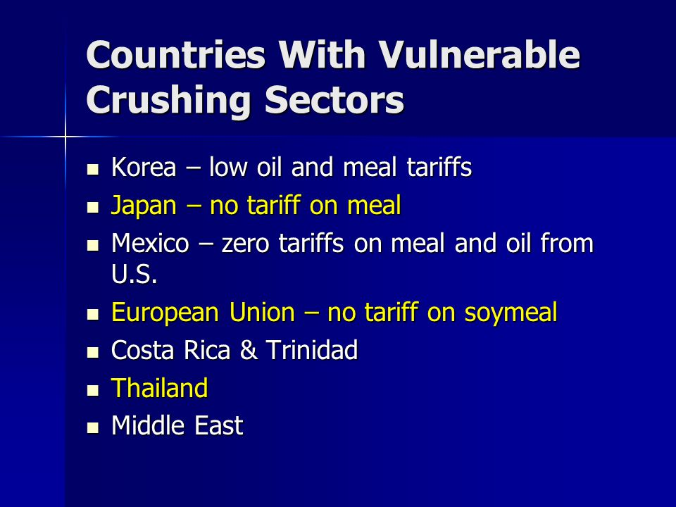 Countries With Vulnerable Crushing Sectors Korea – low oil and meal tariffs Korea – low oil and meal tariffs Japan – no tariff on meal Japan – no tari