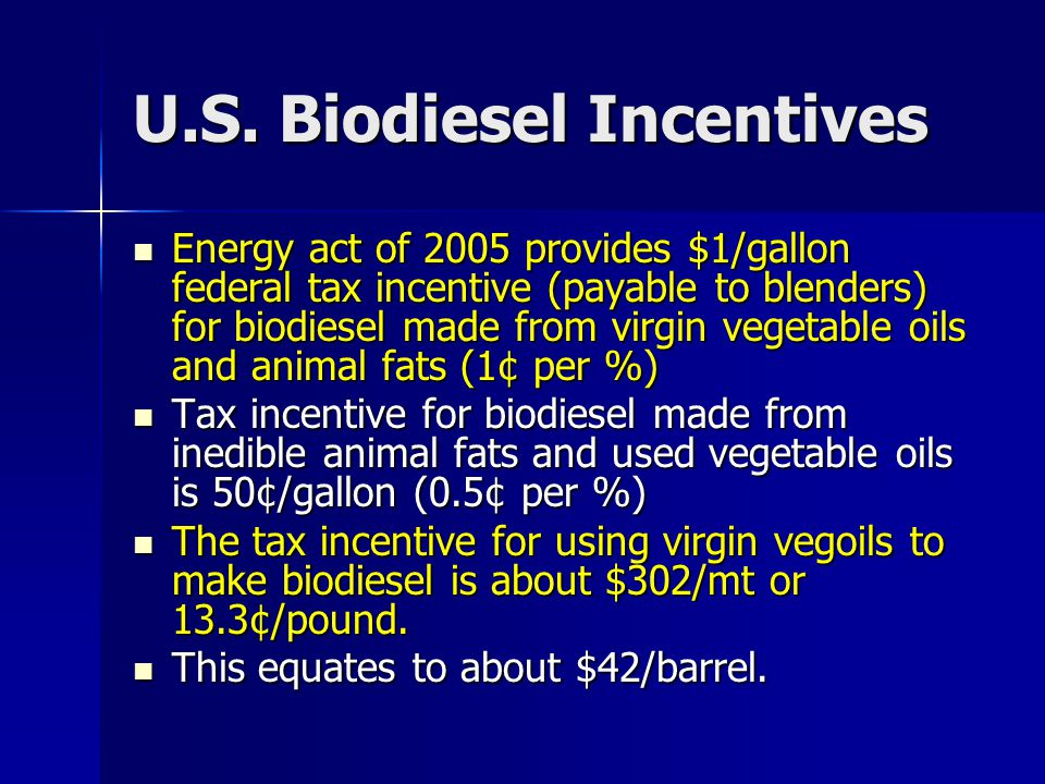 Subsidized biodiesel Can Be Exported The biodiesel blenders credit is collected when biodiesel is blended.