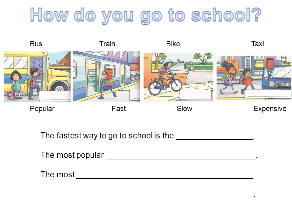 The fastest way to go to school is the _________________. The most popular _________________________________. The most _______________________________
