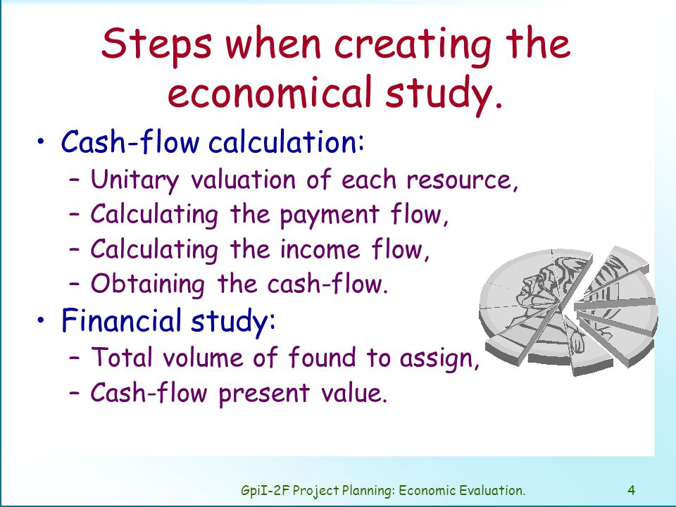 GpiI-2F Project Planning: Economic Evaluation.4 Steps when creating the economical study.
