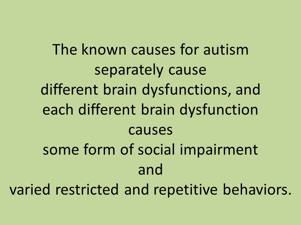 The known causes for autism separately cause different brain dysfunctions, and each different brain dysfunction causes some form of social impairment and varied restricted and repetitive behaviors.