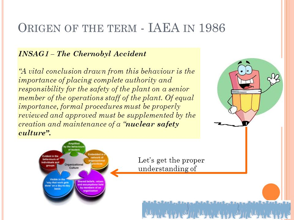"O RIGEN OF THE TERM - IAEA IN 1986 INSAG1 – The Chernobyl Accident ""A vital conclusion drawn from this behaviour is the importance of placing complete"
