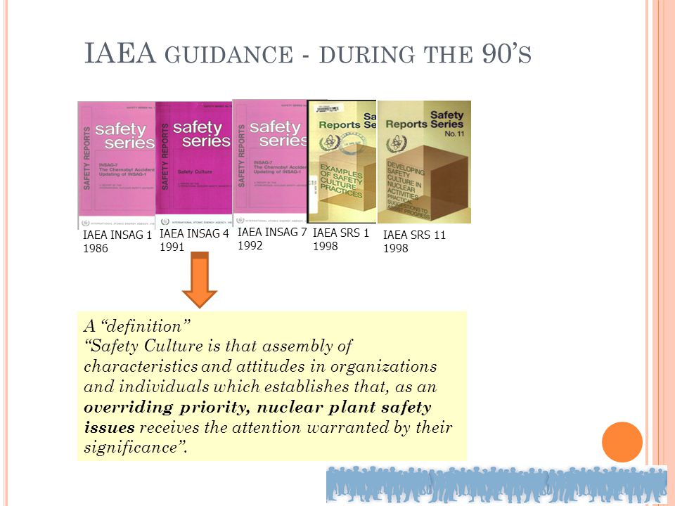 "IAEA GUIDANCE - DURING THE 90' S IAEA INSAG 1 1986 IAEA INSAG 4 1991 IAEA INSAG 7 1992 IAEA SRS 1 1998 IAEA SRS 11 1998 A ""definition"" ""Safety Culture"