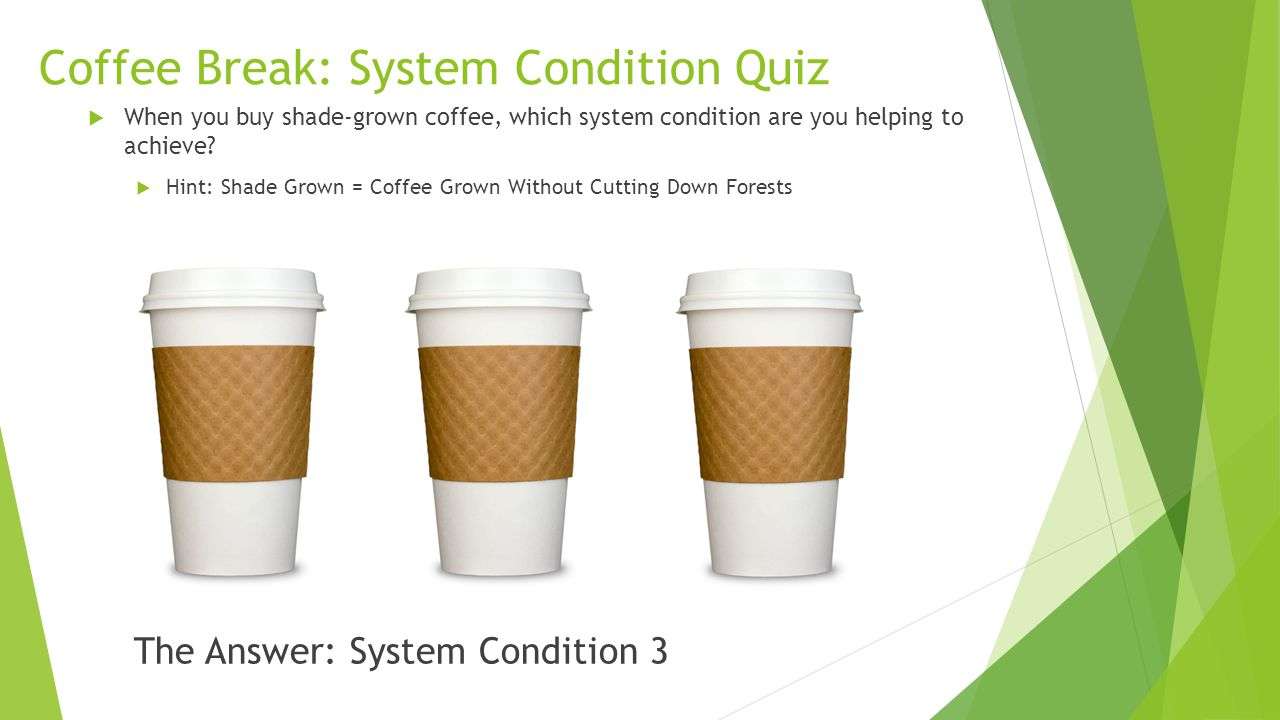 Coffee Break: System Condition Quiz  When you buy shade-grown coffee, which system condition are you helping to achieve?  Hint: Shade Grown = Coffee