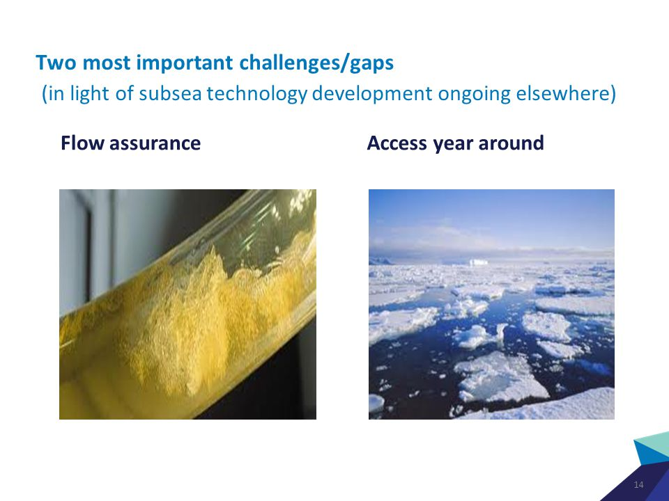 Two most important challenges/gaps (in light of subsea technology development ongoing elsewhere) Flow assurance Access year around 14