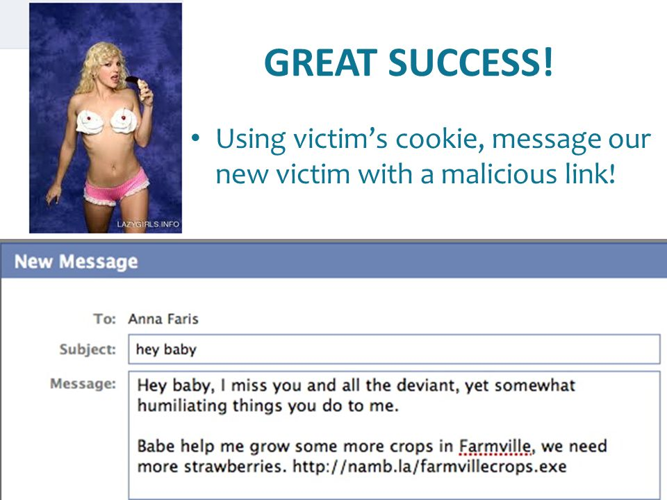 GREAT SUCCESS! Using victim's cookie, message our new victim with a malicious link!