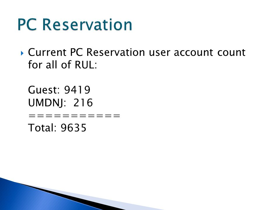  Current PC Reservation user account count for all of RUL: Guest: 9419 UMDNJ: 216 =========== Total: 9635